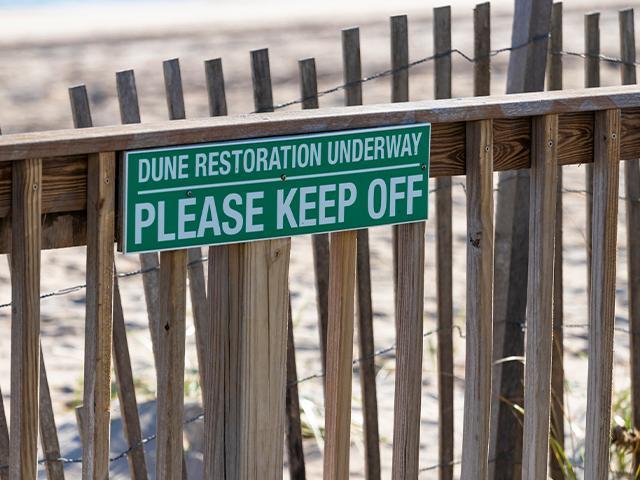 beach dune restoration sign