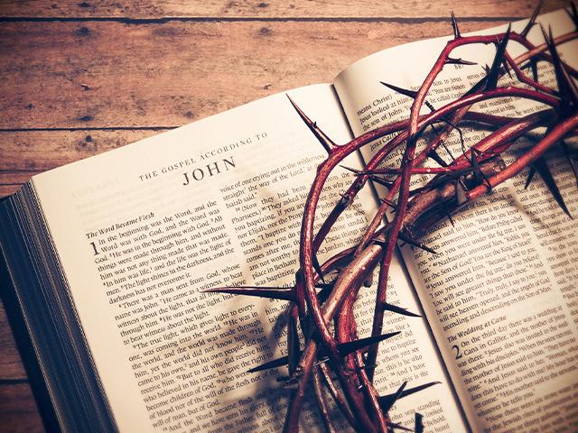 Bible open to Gospel of John
