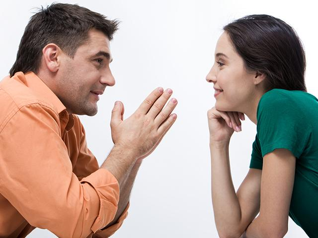 Couple listening to each other