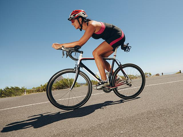 female cyclist on the highway