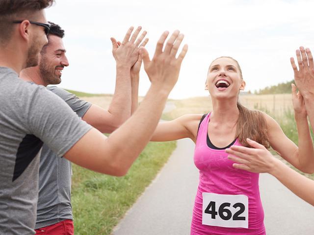 woman finishing marathon race