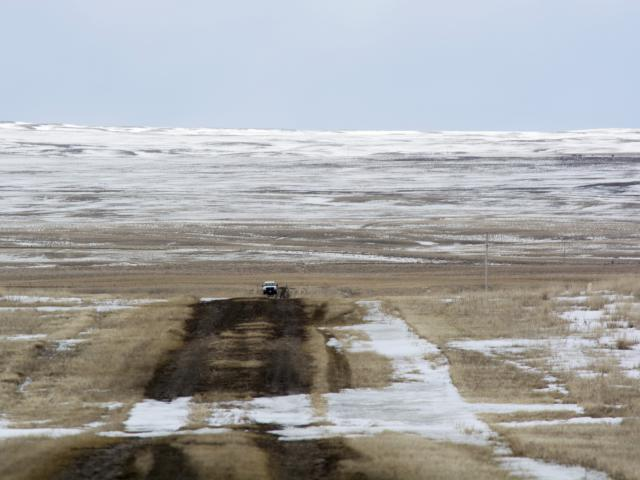 In this March 11, 2020, file photo provided by the Bureau of Land Management, shows the proposed route of the Keystone XL oil pipeline where it crosses into the United States from Canada in Phillips County, Mont.(Al Nash/Bureau of Land Management via AP