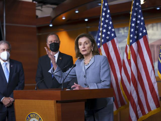 Speaker of the House Nancy Pelosi at the Capitol in Washington, Tuesday, Sept. 21, 2021. (AP Photo/J. Scott Applewhite)