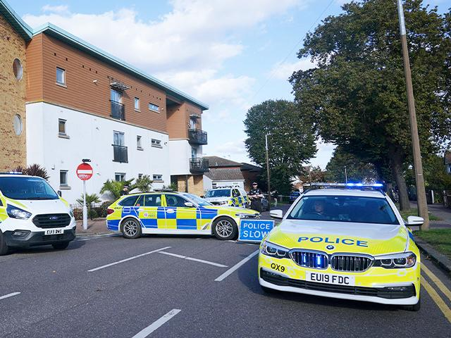 Emergency services at the Belfairs Methodist Church where Conservative UK MP Sir David Amess was stabbed to death in Essex, England (Yui Mok/PA via AP)