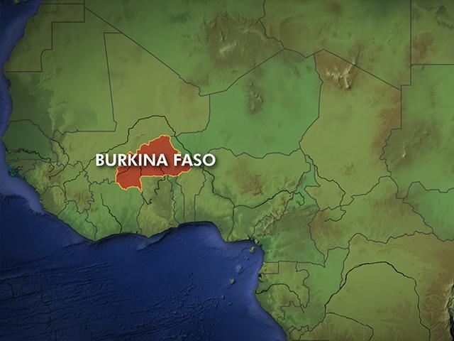 Map showing location of Burkina Faso.