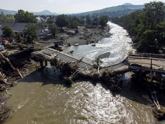 This bridge over the Ahr in Ahrweiler, western Germany is completely destroyed, Sunday, July 18, 2021. (Boris Roessler/dpa via AP)