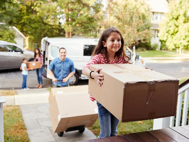 Moving van with family