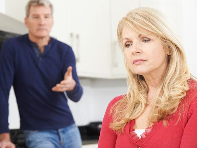 Mature couple argument at home