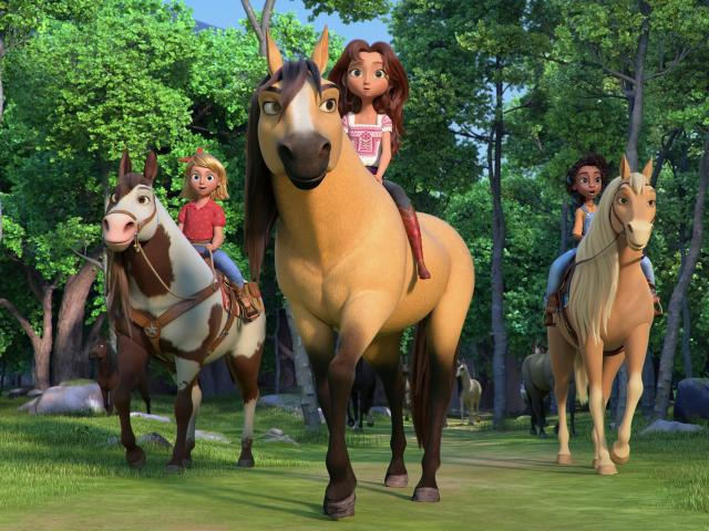 Spirit Untamed movie trio of girl friends on horses