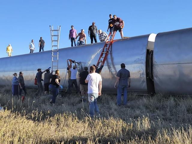 Amtrak train derailment on Saturday, Sept. 25, 2021, in north-central Montana.(Kimberly Fossen via AP)