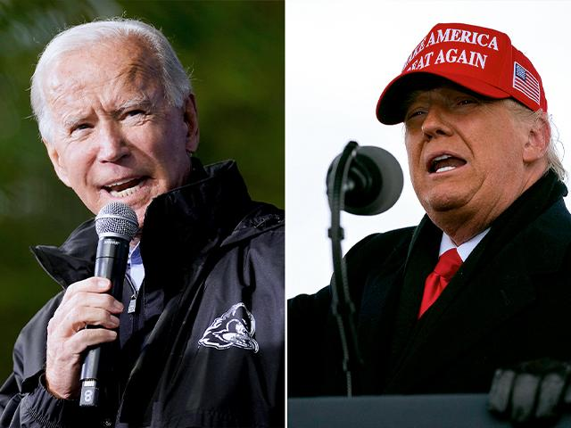 Joe Biden and President Donald Trump campaigning before the election (AP Photos)