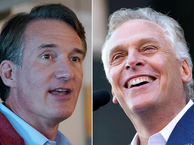 Virginia candidates Republican Glenn Youngkin, left, and Democrat Terry McAuliffe, right (AP Photo/Cliff Owen)