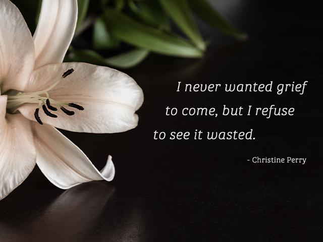 I never wanted grief to come, but I refuse to see it wasted.