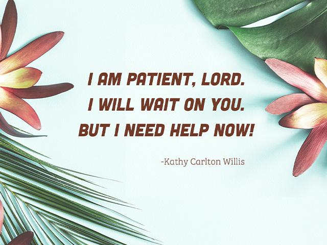 I AM patient, Lord. I WILL wait on you. But I need help NOW!