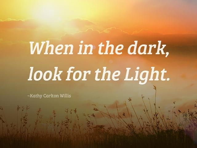 When in the dark, look for the Light. -Kathy Carlton Willis