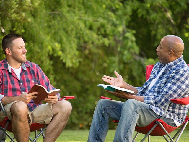 men talking about the Bible