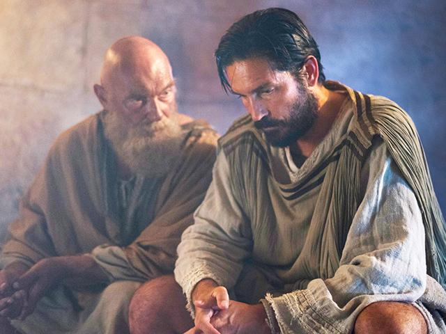 Jim Caviezel and James Faulkner in Paul Apostle of Christ movie