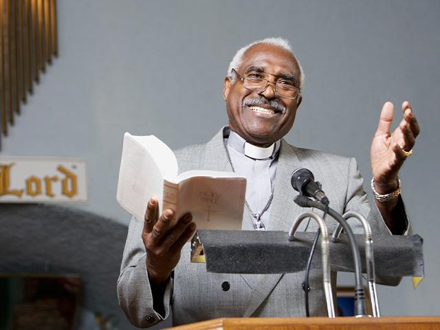 preaching from the pulpit in a church
