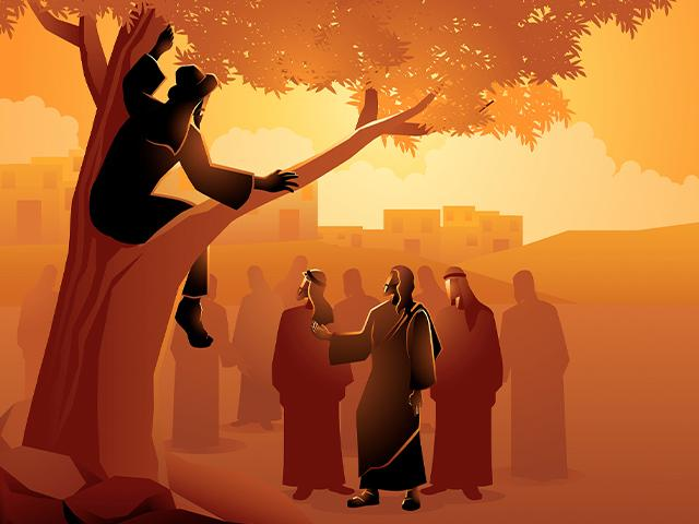 illustration of Jesus telling Zacchaeus to come down from the tree