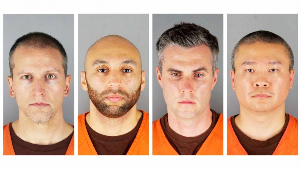 Minneapolis police officers (from left) Derek Chauvin, J. Alexander Kueng, Thomas Lane, and Tou Thao. Chauvin is charged with second-degree murder of George Floyd, a black man, on May 25. (Hennepin County Sheriff's Office via AP)