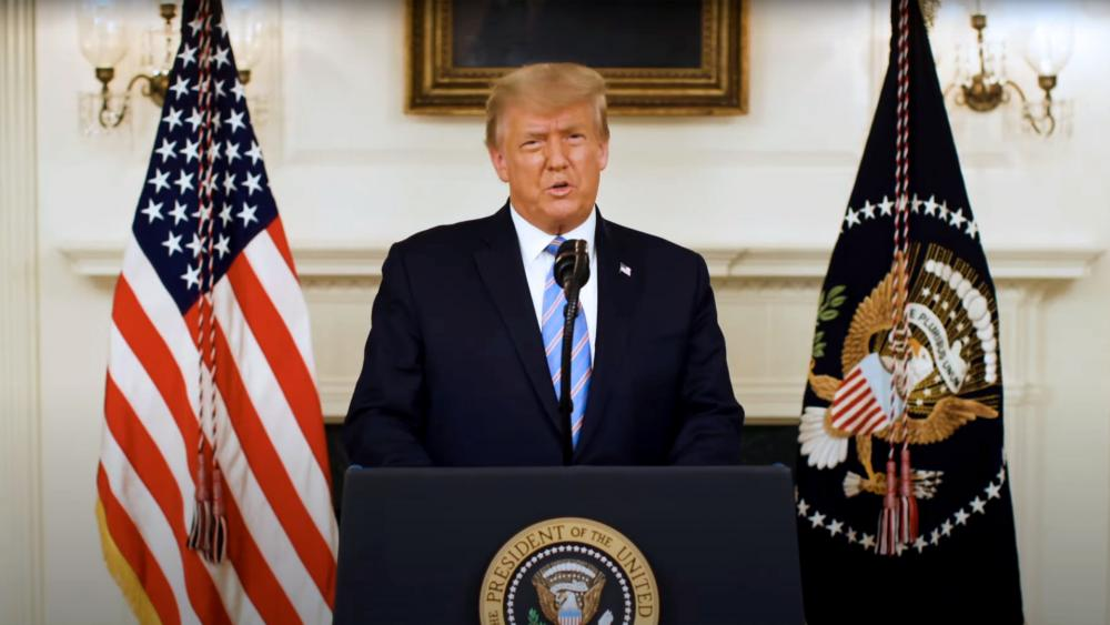 President Trump addresses the nation after Capitol Hill riot. (Screen capture from White House video)