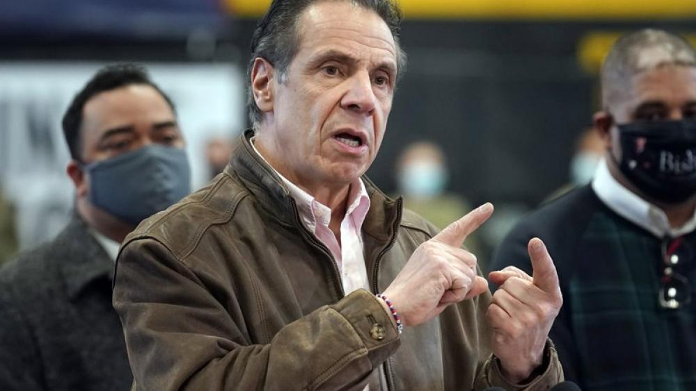 New York Gov. Andrew Cuomo speaking at a vaccination site in New York. (AP Photo/Seth Wenig, Pool, File)