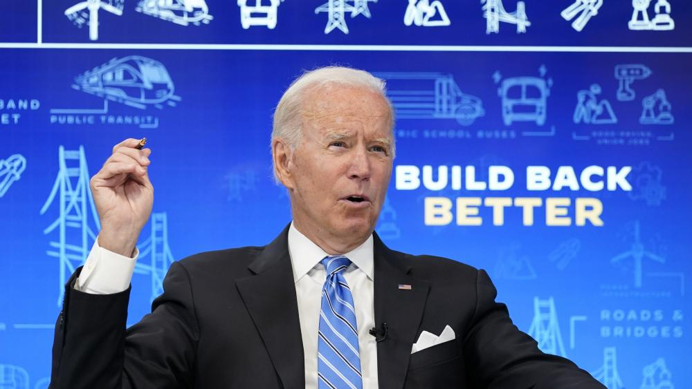 President Joe Biden speaks during a virtual meeting from the South Court Auditorium at the White House complex in Washington, Wednesday, Aug. 11, 2021, to discuss the importance of the bipartisan Infrastructure Investment and Jobs Act. (AP Photo)