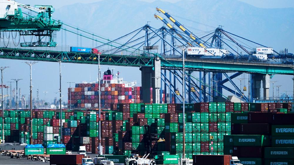 Containers are stacked at the Port of Los Angeles in Los Angeles, Oct. 1, 2021. (AP Photo/Jae C. Hong)