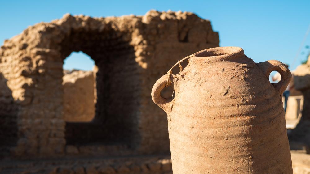 Ancient wine jar from Byzantine era. Photo: CBN News/Jonathan Goff